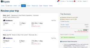 NYC to Brazil: Expedia Booking Page