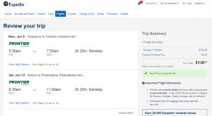 Philly to Orlando: Expedia Booking Page