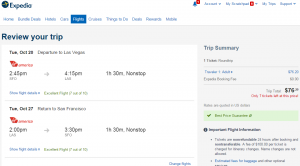 S.F. to Las Vegas: Expedia Booking Page