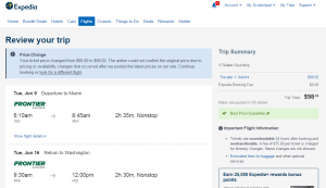 D.C. to Miami: Expedia Booking Page