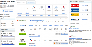 Atlanta to Belize City: Fly.com Results Page