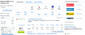Baltimore to Los Angeles: Fly.com Results Page