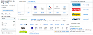 Baltimore to San Diego: Fly.com Results Page