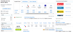 Charlotte to Boston: FLy.com Results Page