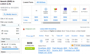 Newark to Lisbon, Portugal: Fly.com Results Page