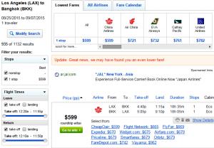 LA to Bangkok: Fly.com Results Page