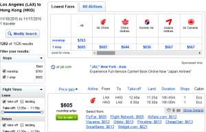 LA to Hong Kong: Fly.Com Results Page