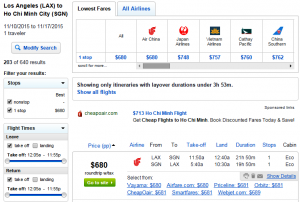 LA to Vietnam: Fly.com Results Page