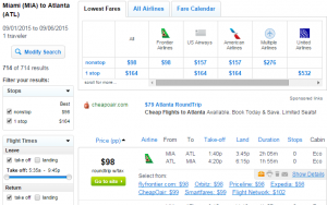 Miami to Atlanta: Fly.com Results Page