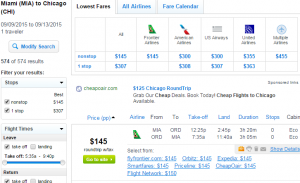 Miami to Chicago: Fly.com Results Page