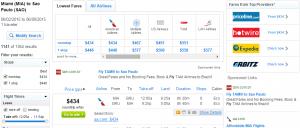 Fly.com Miami to São Paulo: Fly.com Results Page