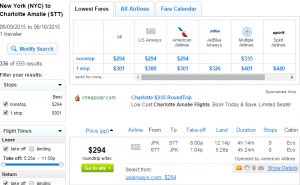 NYC to St. Thomas: Fly.com Results Page