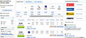 NYC to Hamilton, Bermuda: Fly.com Results Page