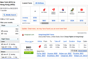 NYC to Hong Kong: Fly.com Results Page