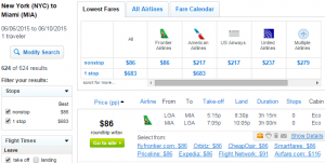 New York City to Miami: Fly.com Results Page