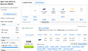 NYC to Moscow: Fly.com Results Page