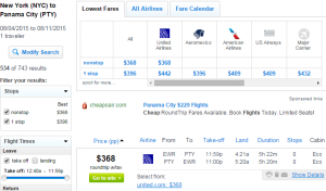 NYC to Panama City; Fly.com Results Page