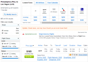 Philly to Las Vegas: Fly.com Results Page