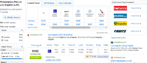 Philly to LA: Fly.com Results Page