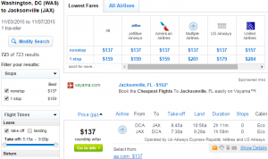 D.C. to Jacksonville: Fly.com Results Page