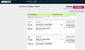 NYC to Miami: Orbitz Booking Page