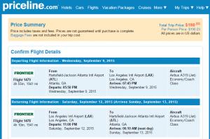 Atlanta to LA: Priceline  Booking Page