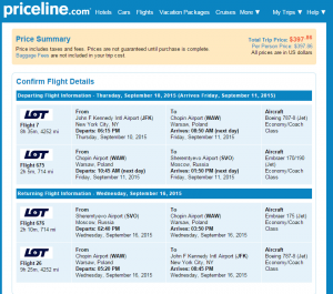 NYC to Moscow: Priceline Booking Page