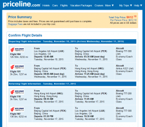 LA to Hong Kong: Priceline Booking Pge Page