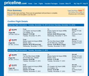 LA to Vietnam: Priceline Booking Page