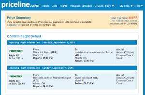 Miami to Atlanta: Priceline Booking Page Page