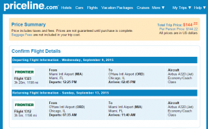 Miami to Chicago: Priceline Booking Page