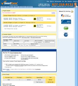 Baltimore to Los Angeles: SmartFares Booking Page