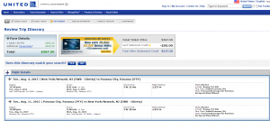 NYC to Panama City: United Booking Page