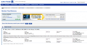 Baltimore to San Diego: United Booking Page