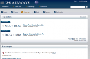 Miami to Bogotá, Colombia: US Airways Page