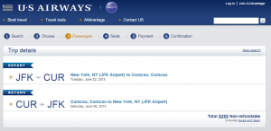 NYC to Curacao: US Airways Booking Page