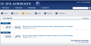 New York City to : Rio de Janeiro:US Airways Booking Page