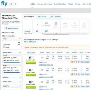 Atlanta to Philadelphia: Fly.com Results