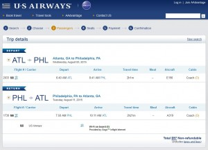 Atlanta to Philadelphia: US Air Booking Page