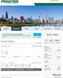 Austin-Chicago: Frontier Booking Page