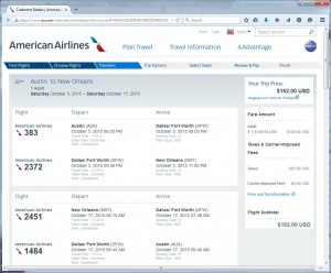 Austin-New Orleans: American Booking Page