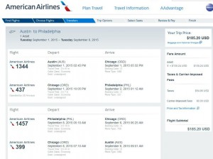 Austin-Philadelphia: American Booking Page