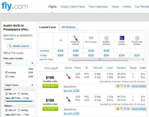 Austin-Philadelphia: Fly.com Search Results