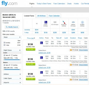 Boston to Savannah: Fly.com Results