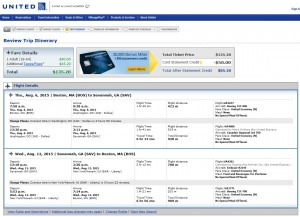Boston to Savannah: United Booking Page