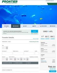 Chicago-Atlanta: Frontier Booking Page