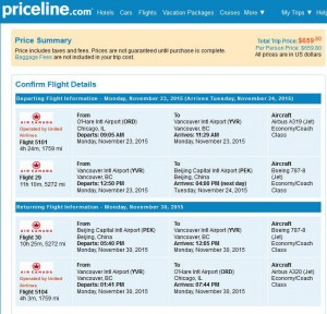 Chicago-Beijing: Priceline Booking Page