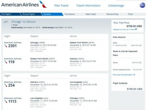 Chicago-Kahului: American Booking Page