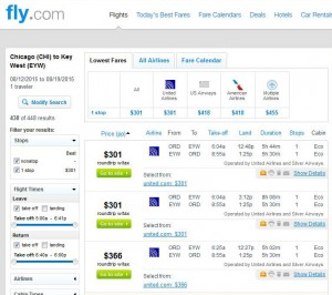 Chicago-Key West: Fly.com Search Results