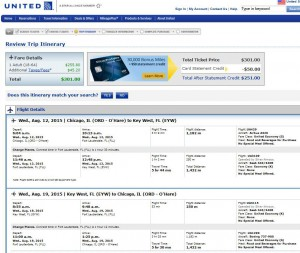 Chicago-Key West: United Booking Page